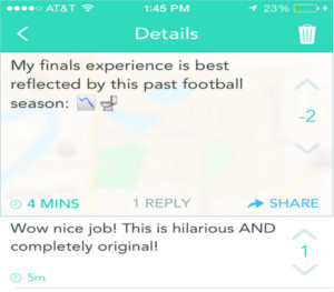 Yik Yak about Finals being like this football season, in the toilet