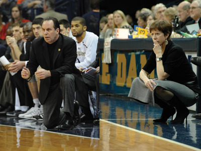 ND Basketball Coaches: Muffet McGraw and Mike Brey