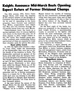 #tbt Scholastic Previews 1961 Bengal Bouts Competition